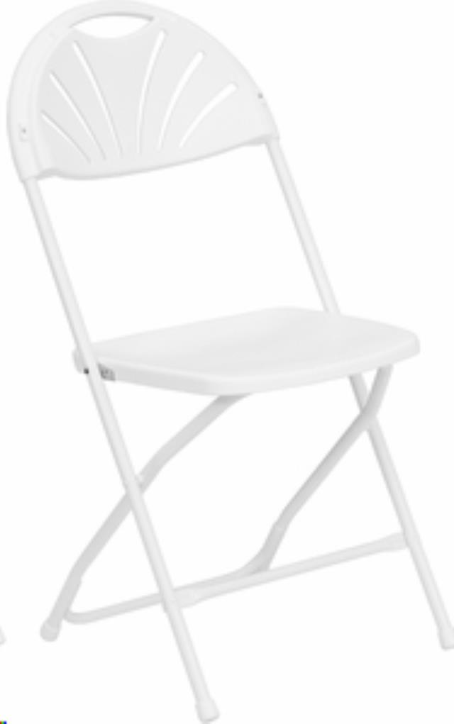 Where to find B Rated White Fan Back Folding Chair in Vancouver