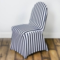 Rental store for Black   White Stripe Chair Cover Spandex in Vancouver WA